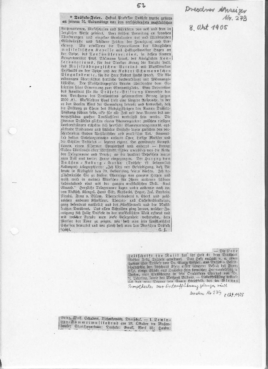 Aufführung: E Moll Quartett In Dresden 1905   Felix Draeseke 70. Geburtstag  1905