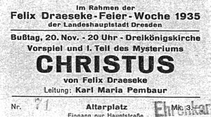 Ticket for a performance of Draeseke's Christus.