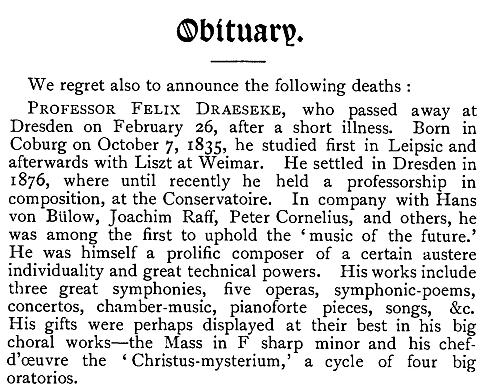 Felix Draeseke: Obituary (Click for full page)